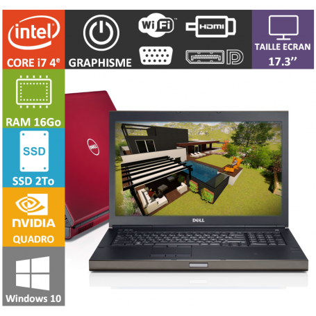 Dell Precision M6800 16Go SSD2To Nvidia Quadro K3100M