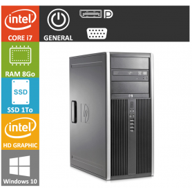 PC HP Core i7 8Go SSD1000 Windows 10 pro