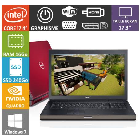 Dell Precision M6800 16Go SSD240 + 1To Nvidia Quadro K3100M
