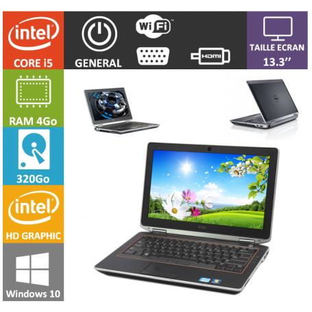 DELL Latitude e6320 i5 4Go 320Go Windows 10 Pro Port HDMI