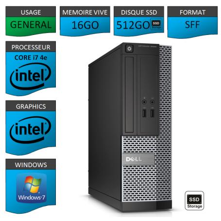Optiplex 3020 i7 16Go SSD512 W7P