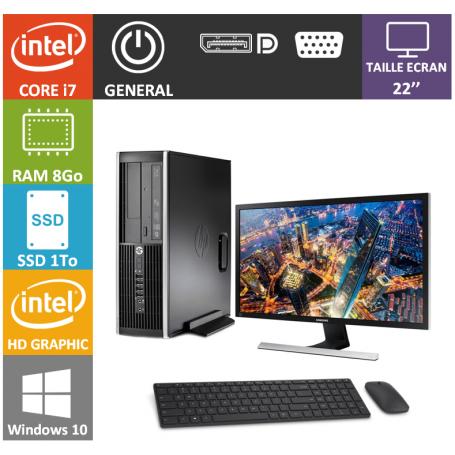 PC HP Core i7 8Go 1000SSD Windows 10 Pro 64 Ecran 22''