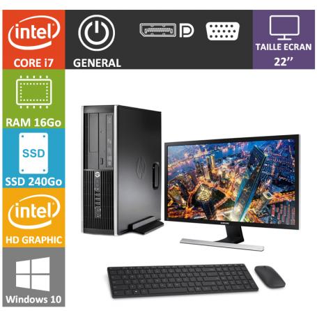 PC HP Core i7 16Go 240SSD Windows 10 Pro 64 Ecran 22''