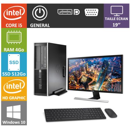 PC HP Core i5 4Go 512SSD Windows 10 Pro Ecran 19 CSF
