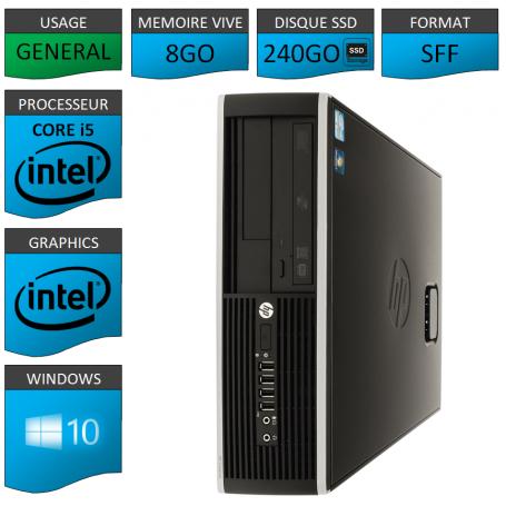HP Core i5 8Go 240Go SSD Windows 10 Pro GARANTI 3 ANS