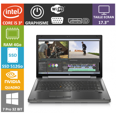 Hp elitebook 17 i5 4Go 512SSD W7P32