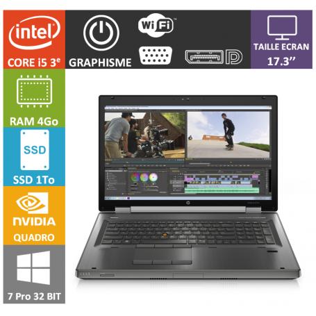 Hp elitebook 17 i5 4Go 1000SSD W7P32