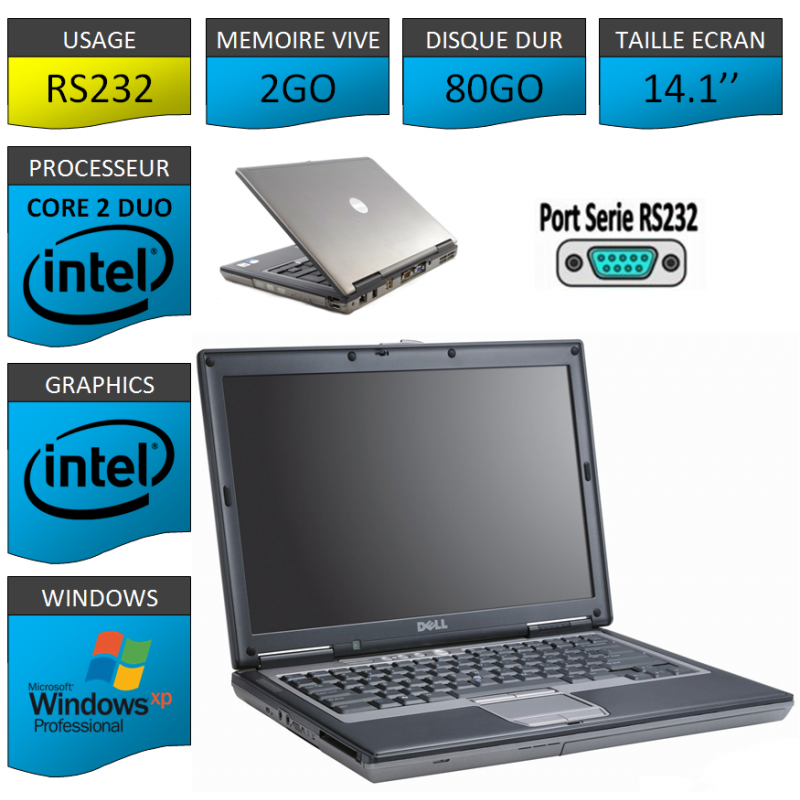 Ordinateur Portable Windows XP Pro 32 bits Port Serie 320 Go