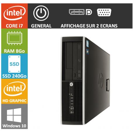 PC HP Core i7 8Go 240Go SSD Windows 10 Pro