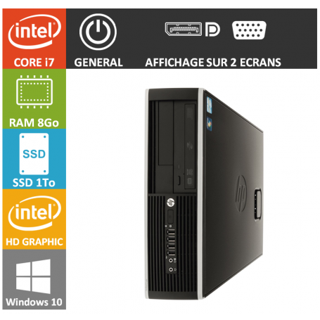 PC HP Core i7 8Go 1000Go SSD Windows 10 Pro