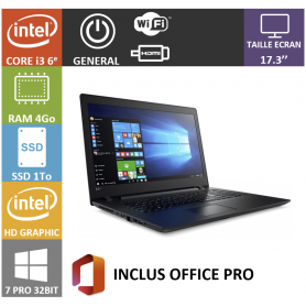 Lenovo i3 4Go SSD1000 17 Win 7 Pro 32 Office